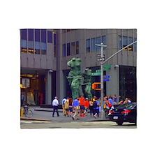 Street Corner Statue  Throw Blanket