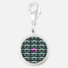 Colorful Patterns Mustaches Silver Round Charm