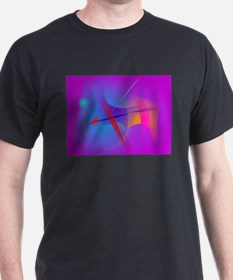 Purple Pink Abstract Space with Red Impact T-Shirt