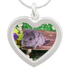 Baby ebony chinchilla Silver Heart Necklace