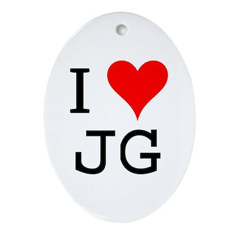 I Love JG Oval Ornament