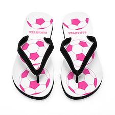 Pink Soccer Ball Flip Flops