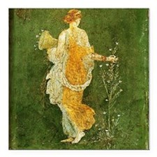 "Flora Picking Flowers Square Car Magnet 3"" x 3"""