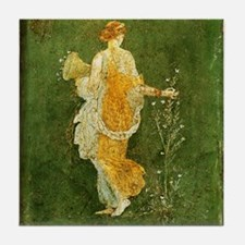 Flora Picking Flowers Tile Coaster