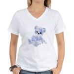 Blue & White Teddy Bear Women's V-Neck T-Shirt