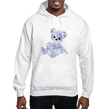 Blue & White Teddy Bear Hoodie Sweatshirt