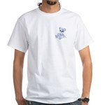 Blue & White Teddy Bear White T-Shirt