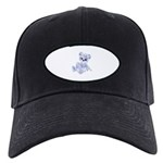 Blue & White Teddy Bear Black Cap