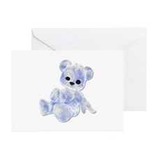 Blue & White Teddy Bear Greeting Cards (Package of