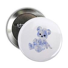 Blue & White Teddy Bear Button