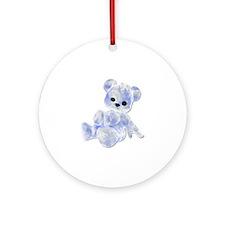 Blue & White Teddy Bear Ornament (Round)
