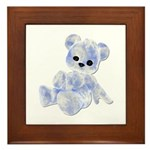 Blue & White Teddy Bear Framed Tile