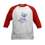 Blue & White Teddy Bear Kids Baseball Jersey