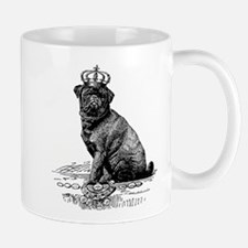 Vintage Black Pug Illustration Mug