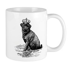 Vintage Black Pug Illustration Mug
