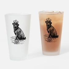 Vintage Black Pug Illustration Drinking Glass