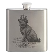 Vintage Black Pug Illustration Flask