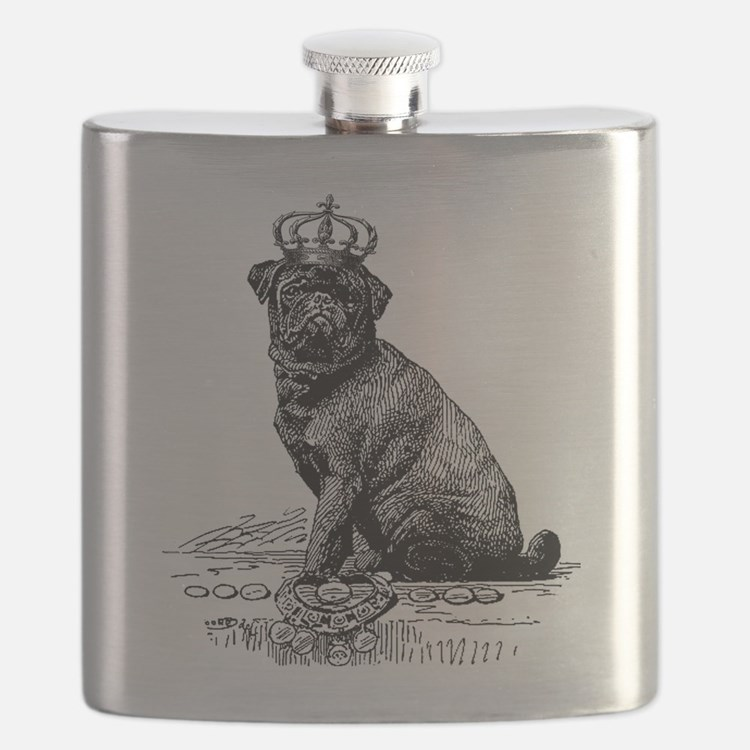 Vintage Black Pug Illustration Flask