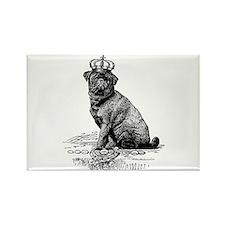 Vintage Black Pug Illustration Rectangle Magnet