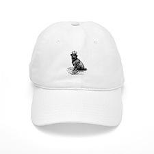 Vintage Black Pug Illustration Baseball Cap