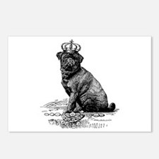 Vintage Black Pug Illustr Postcards (Package of 8)