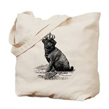 Vintage Black Pug Illustration Tote Bag