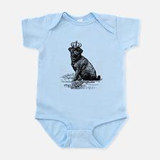 Vintage Black Pug Illustration Infant Bodysuit