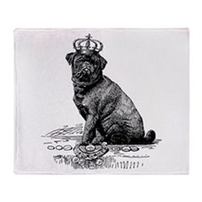 Vintage Black Pug Illustration Throw Blanket