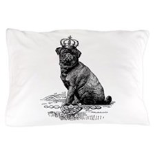 Vintage Black Pug Illustration Pillow Case