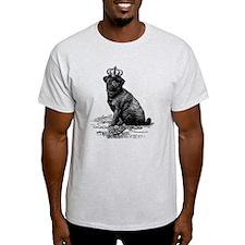 Vintage Black Pug Illustration T-Shirt