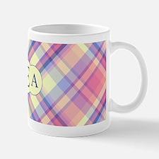 Pink Sunrise Plaid Monogram Mug