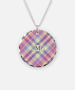 Pink Sunrise Plaid Monogram Necklace