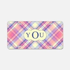 Pink Sunrise Plaid Monogram Aluminum License Plate