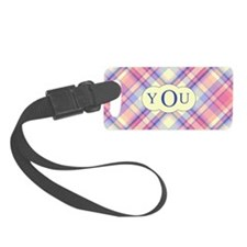 Pink Sunrise Plaid Monogram Luggage Tag