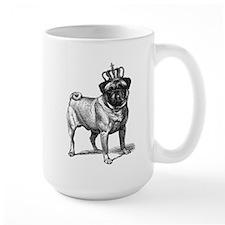 Vintage Fawn Pug with Crown Illustratio Mug