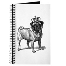 Vintage Fawn Pug with Crown Illustration Journal