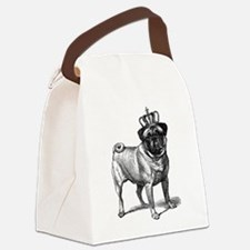 Vintage Fawn Pug with Crown Illus Canvas Lunch Bag