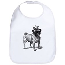 Vintage Fawn Pug with Crown Illustration Bib