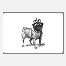 Vintage Fawn Pug with Crown Illustration Banner