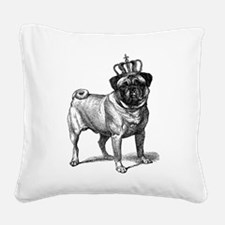Vintage Fawn Pug with Crown I Square Canvas Pillow