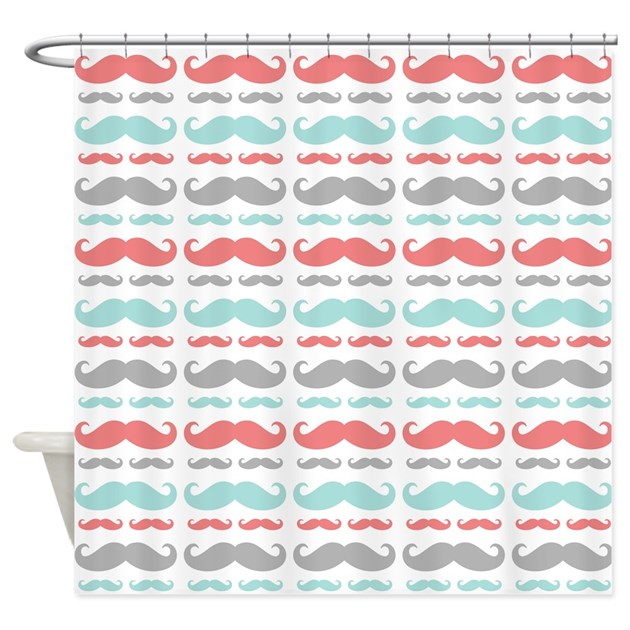 Coral Aqua Grey Mustache Shower Curtain By BimbysCollections