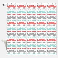 Coral Aqua Grey Mustache Shower Curtain