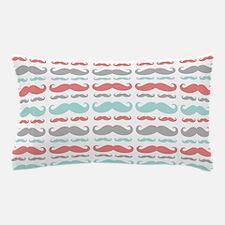 Coral Aqua Grey Mustache Pillow Case