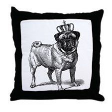 Vintage Fawn Pug with Crown Illustrat Throw Pillow