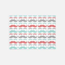 Coral Aqua Grey Mustache 5'x7'Area Rug