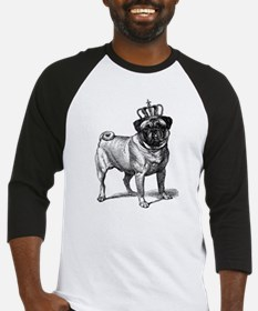 Vintage Fawn Pug with Crown Illust Baseball Jersey