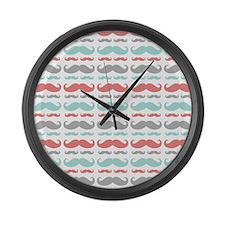 Coral Aqua Grey Mustache Large Wall Clock