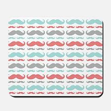 Coral Aqua Grey Mustache Mousepad