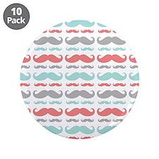 "Coral Aqua Grey Mustache 3.5"" Button (10 pack)"