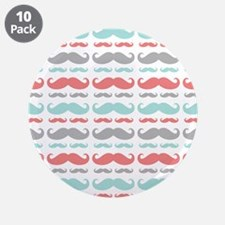 "Coral Aqua Grey Mustache 3.5"" Button (10 pack)"